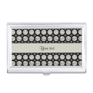 Glitzy Sparkly Silver Glitter Buttons Business Card Holder