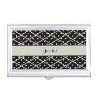 Glitzy Sparkly Silver Glitter Polka Dots & Diamond Business Card Holder