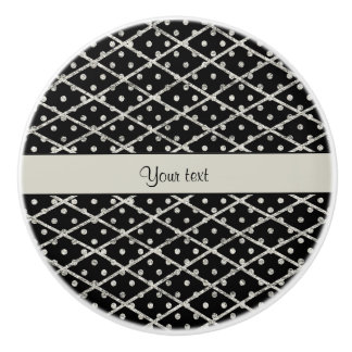 Glitzy Sparkly Silver Glitter Polka Dots & Diamond Ceramic Knob
