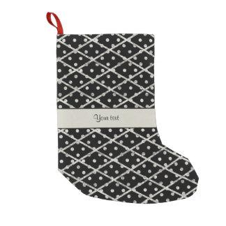 Glitzy Sparkly Silver Glitter Polka Dots & Diamond Small Christmas Stocking
