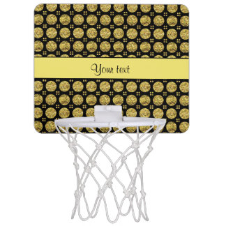 Glitzy Sparkly Yellow Glitter Buttons Mini Basketball Hoop