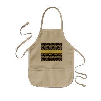 Glitzy Sparkly Yellow Glitter Damask Kids Apron