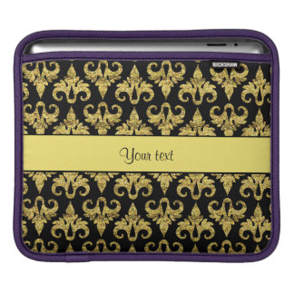 Glitzy Sparkly Yellow Glitter Damask Sleeve For iPads