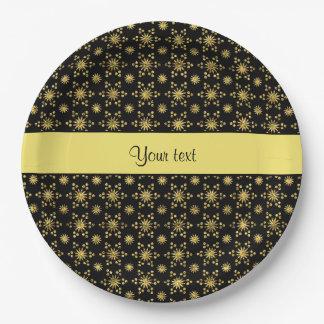 Glitzy Sparkly Yellow Glitter Stars Paper Plate