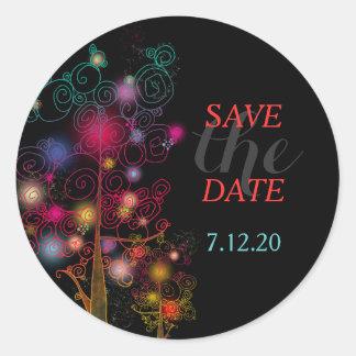 Glitzy Spiral Trees Wedding Save the Date Classic Round Sticker