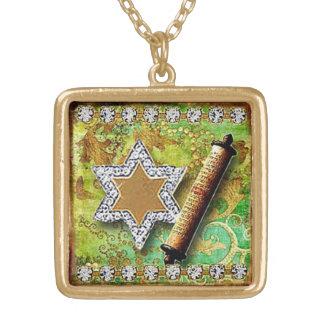 Glitzy Star of David pendan, original art Gold Plated Necklace
