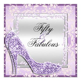 Glitzy Stilettos, Diamonds & Damask Fabulous 50 Card