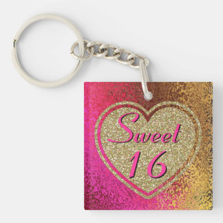 Glitzy Sweet 16 Pink & Gold Custom Double-Sided Square Acrylic Keychain