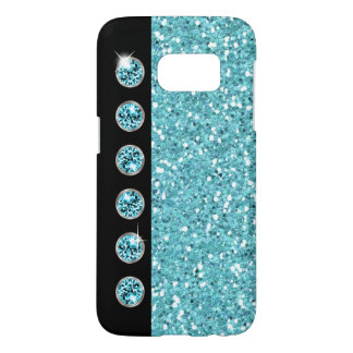 Glitzy Turquoise Faux Bling Glitter Samsung Galaxy S7 Case