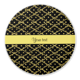 Glitzy Yellow Glitter Polka Dots & Diamonds Ceramic Knob