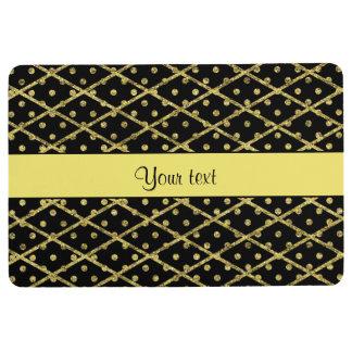 Glitzy Yellow Glitter Polka Dots & Diamonds Floor Mat