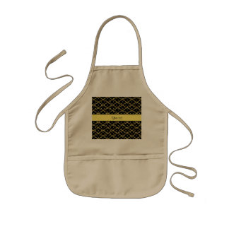 Glitzy Yellow Glitter Polka Dots & Diamonds Kids Apron