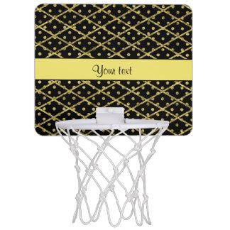 Glitzy Yellow Glitter Polka Dots & Diamonds Mini Basketball Hoop