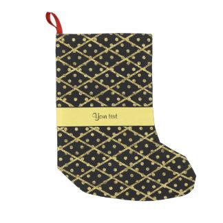 Glitzy Yellow Glitter Polka Dots & Diamonds Small Christmas Stocking