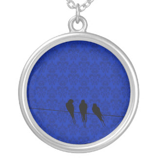 Gloaming Blackbirds Silhouette on Wire on Damask Silver Plated Necklace