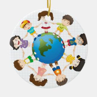 Global diversity ceramic ornament
