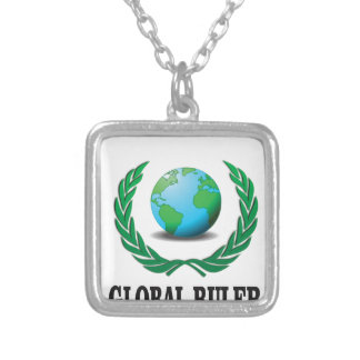 global Ruler green Silver Plated Necklace