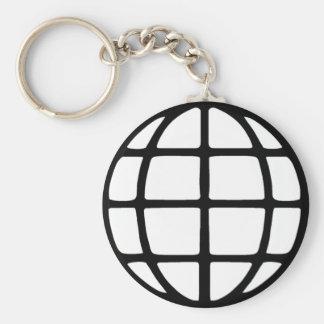 Global Symbol Basic Round Button Keychain