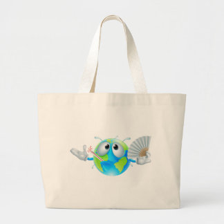 Global warming concept canvas bags