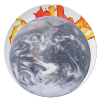 Global Warming Earth Dinner Plates