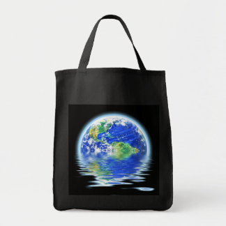 Global Warming Flooded Earth Illustration Grocery Tote Bag