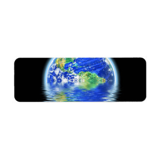 Global Warming Flooded Earth Illustration Return Address Label