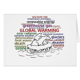 Global Warming impacts Polar Bear and cub Card