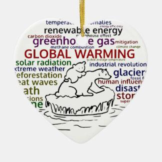 Global Warming impacts Polar Bear and cub Ceramic Ornament