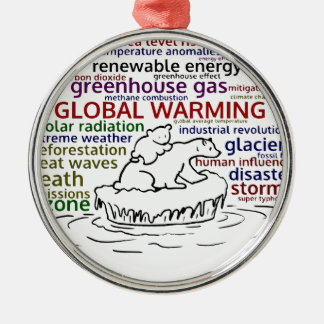 Global Warming impacts Polar Bear and cub Metal Ornament