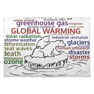 Global Warming impacts Polar Bear and cub Placemat