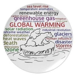 Global Warming impacts Polar Bear and cub Plate