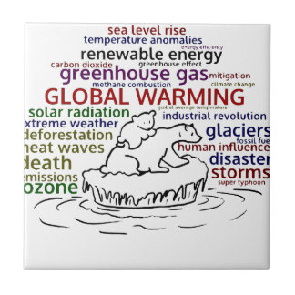 Global Warming impacts Polar Bear and cub Tile