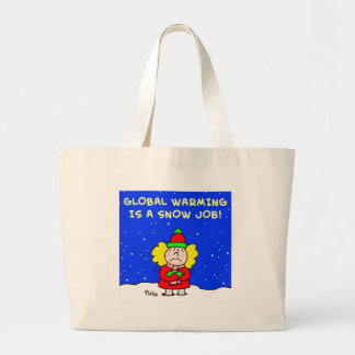 global warming is a snow job jumbo tote bag