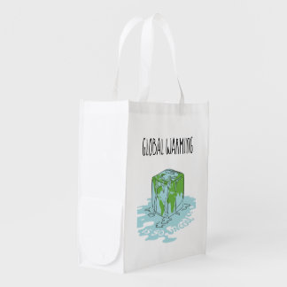 Global Warming is so Uncool Reusable Grocery Bag