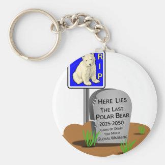 Global Warming,RIP Polar Bear 2050 Keychain