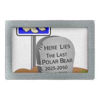 Global Warming,RIP Polar Bear 2050 Rectangular Belt Buckle