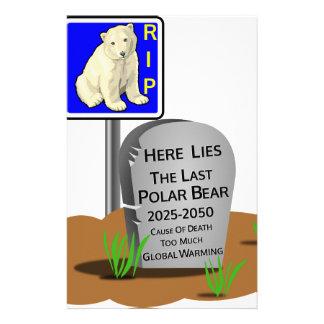 Global Warming,RIP Polar Bear 2050 Stationery