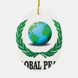 global wreath ceramic oval ornament