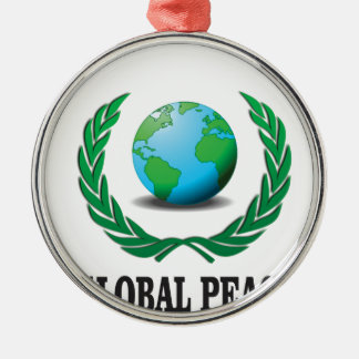 global wreath Silver-Colored round ornament