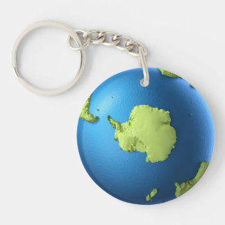 Globe 3d isolated on white background. North Pole Key Chain
