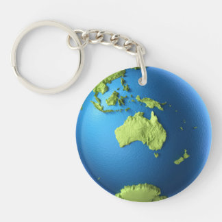 Globe 3d Isolated On White. Continent Australia Keychains
