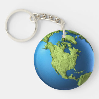 Globe 3d isolated on white.Continent North America Double-Sided Round Acrylic Keychain