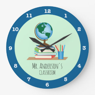 Globe, Books & Pencils for Teacher Personalized Large Clock
