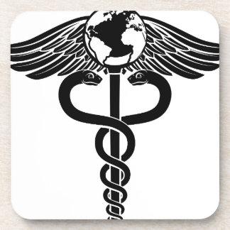 Globe Caduceus Medical Symbol Coaster