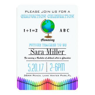 Globe & Crayon Teacher Graduation Invitation