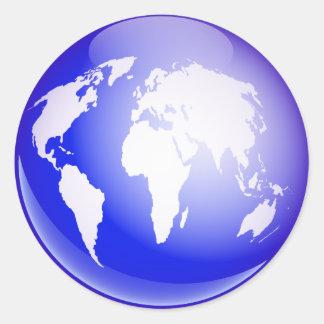 Globe du monde sticker rond
