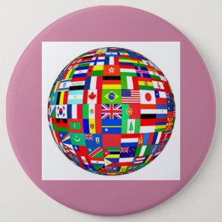 globe flags 6 inch round button