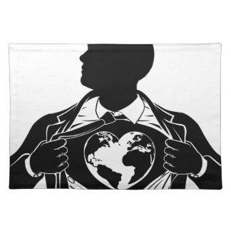 Globe Heart Business Superhero Tearing Shirt Chest Placemat