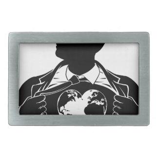 Globe Heart Business Superhero Tearing Shirt Chest Rectangular Belt Buckle