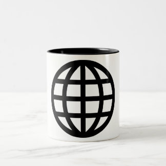 Globe Icon Pictograph Two-Tone Coffee Mug